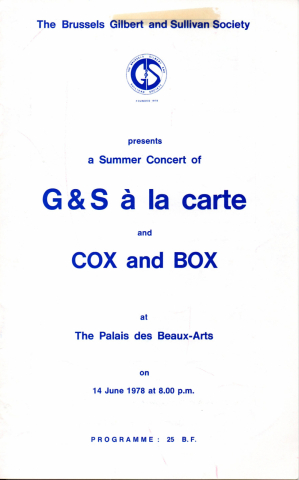 G&S à la carte and COX and BOX (Summer concert 1978)